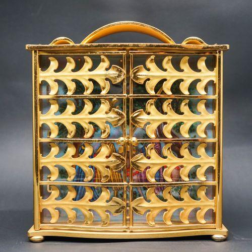 20th Century Swiss Gilt Brass and Enamel Clock