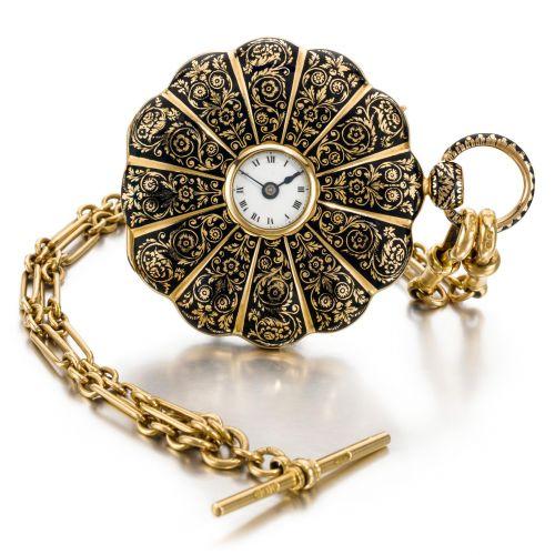 MOULINE FRÈRES 18K Gold and Enamel Pocket Watch