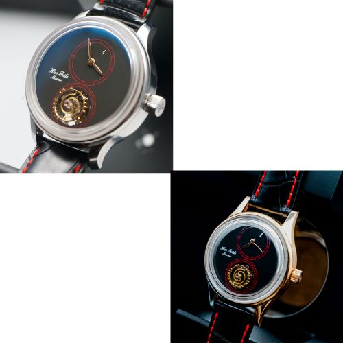 Two Huo's One Floating Tourbillon Wristwatch with Different Case Material