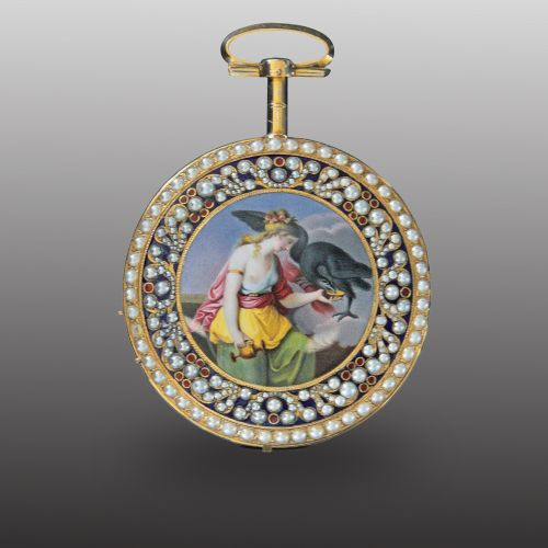 Jaquet Droz Painted Enamel Hebe Pocket Watch