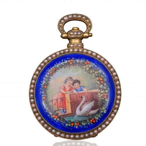 Bovet 14K Gold Painted Enamel Pocket Watch
