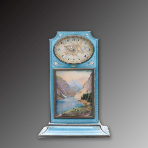 20th Century Silver and Enamel Table Clock