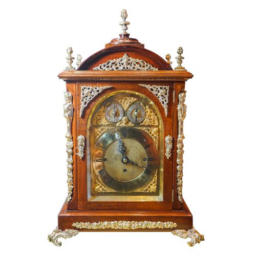 19th Century Brass Mounted Mahogany Chiming Bracket Clock