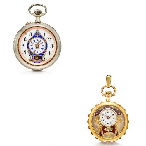 Two Chinese Market Pocket Watches with Mock Pendulum