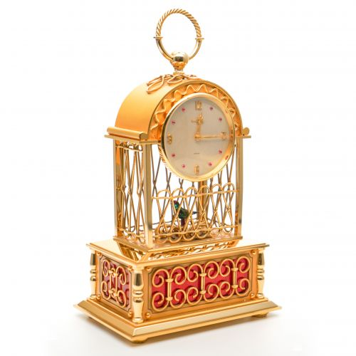 20th Century Swiss Bird Cage Automaton Clock
