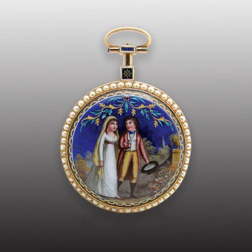 Jaquet Droz Gold and Painted Enamel Pocket Watch(Grande Mariée)