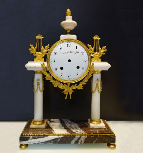 19th Century Ormolu-Mounted and Marble Portico Mantel Clock