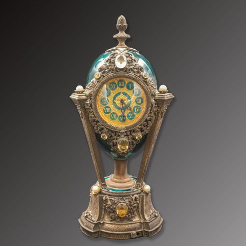20th Century Silver Enamel Musical Clock