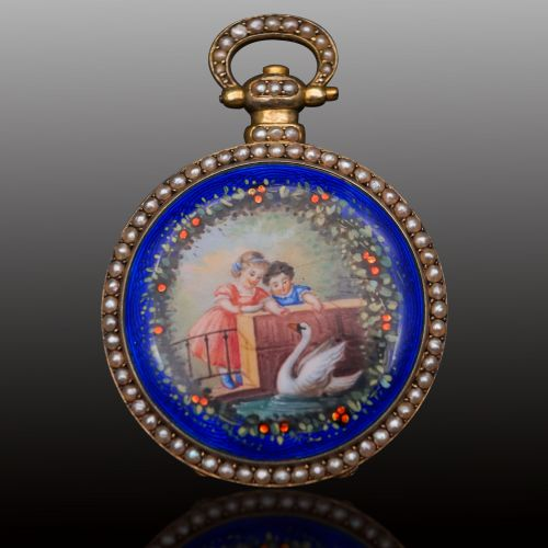 播喴14K金中國市場琺瑯彩繪懷錶