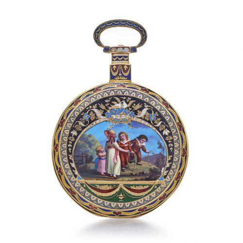 伊伯利中國市場琺瑯彩繪懷錶