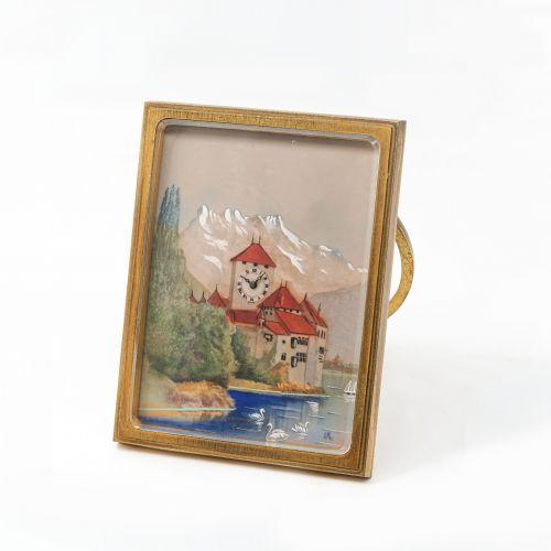 銅鎏金珐瑯彩繪畫架式桌鐘