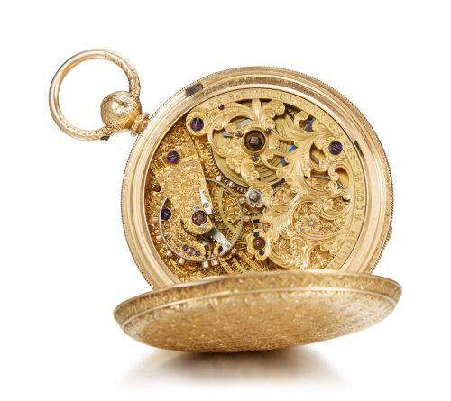 18K金雕天文台獵殼懷錶