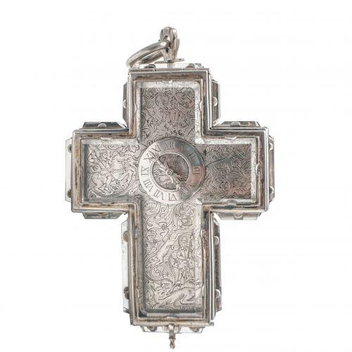 銀制水晶十字架表