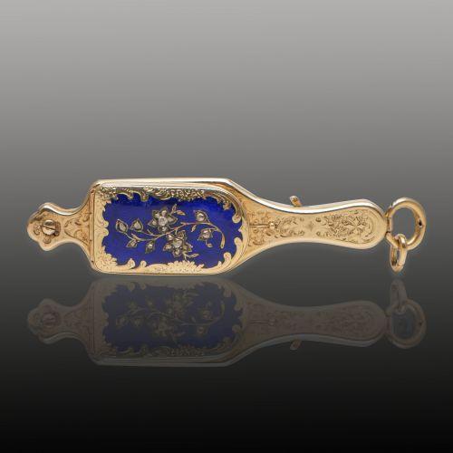 14K黄金珐琅镶钻长柄眼镜造型表