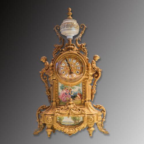 二十世纪法国手绘瓷面座钟