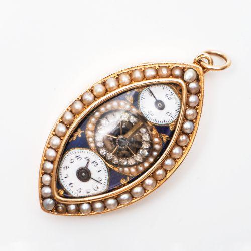 18K黄金珐琅珍珠吊坠表