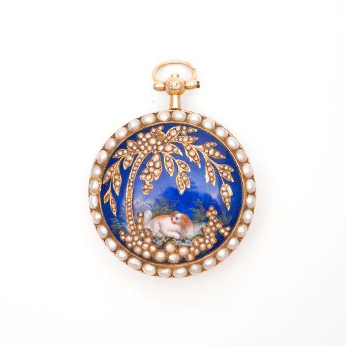 18K黄金中国市场珐琅彩绘珠边怀表