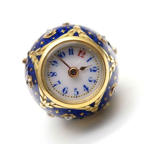 18K黄金珐琅球形袖珍表